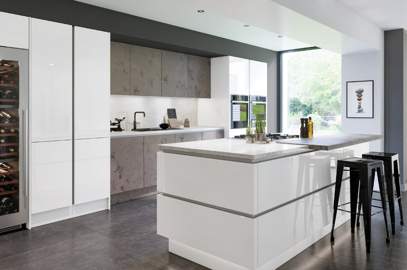 Ultragloss Glacier White replacement kitchen doors
